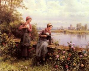 Мария и Мадлен на рыбалке