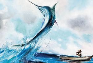 """Эрнест Хемингуэй написал  повесть о старике, который всю жизнь ловил в море рыбу. Она называется"""" Старик и море»."""