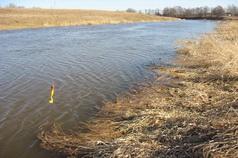 опустив риппер белого или желтого цвета на полметра в мутную воду реки