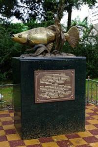 А вот этот памятник  рыбе гамбузии.  Памятник находится в Адлере.