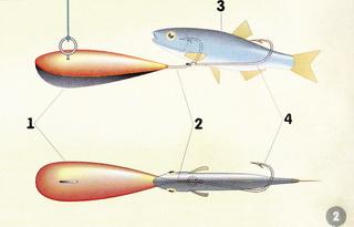 Мормышка на судака 1 оснащается дополнительным одинарным крючком 4.