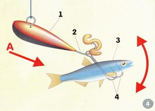 Малёк 3 в этом случае прокалывается снизу двумя крючками 4 в поперечном положении (относительно оси мормышки), а на основной крючок 2 насаживается червь